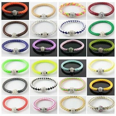 Fashion  PUNK Leather Magnetic Buckle Rhine stone Bracelet color&Qty optional