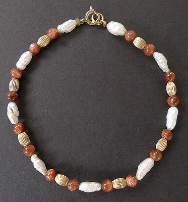 Vintage Goldstone Pearl and Gold Bead Bracelet 14K Gold Filled