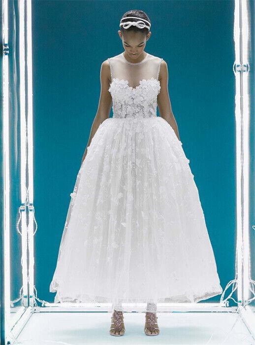 Z H&M GIAMBATTISTA VALLI LACE CORSET DRESS Weiß FLORAL WEDDING BRIDAL 12 8 40