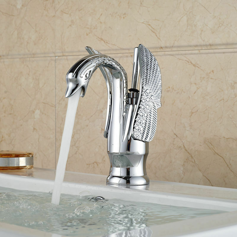 Chrome Polished Swan Design Bathroom Basin Sink Mixer Tap 1 Handle Brass Faucet