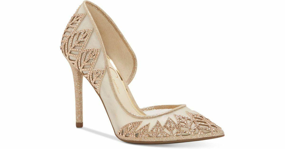 Jessica Simpson Liya D'orsay Pumps Dusty Glitter Fine Mesh Beige Tall Heel 8.5 M