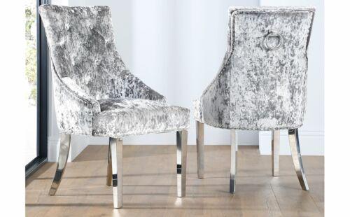 2 4 6 8 Imperial Silver Velvet Button Back Dining Chair (Chrome Leg)