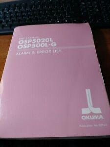 Okuma CNC OSP5020L /& 500L-g Alarm Error List NO.3274-E