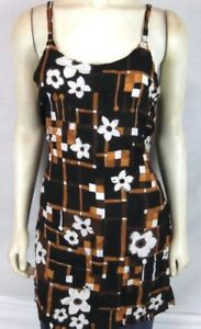 Bali-Girl-black-Brown-Floral-dress-Beach-Cover-Tunic-Top-Women-039-s-Sz-Medium-Large