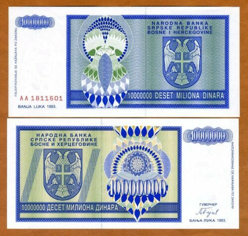 UNC /> Bosnian war Dinara 10000000 P-144 1993 10,000,000 Bosnia
