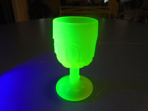 LE Smith Vaseline Yellow Glass Water Goblet s Moon and Stars