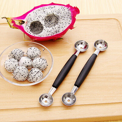 1Pcs Stainless Steel Cook Dual Double Melon baller ice cream scoop fruit Spoon