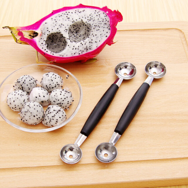 Stalinless Steel Cook Dual Double Melon baller ice cream scoop fruit Spoon New