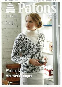 bc1f0b15e8ddd VAT Free Knitting PATTERN ONLY Patons Women s Lady s Vee-Neck Jumper ...