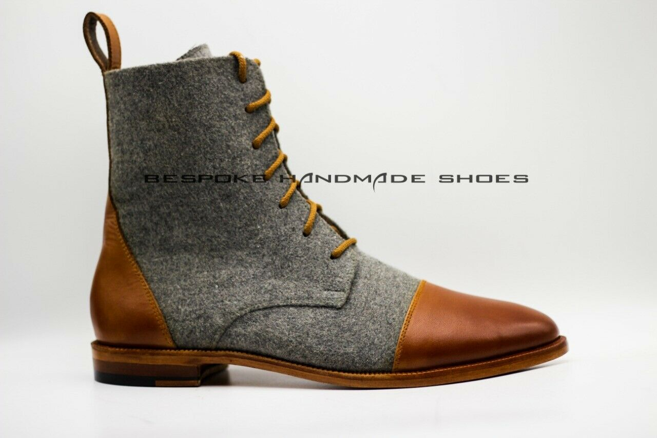 Handmade Men's Genuine Leather & Fabric Lace-Up Ankle Casual Wear stivali