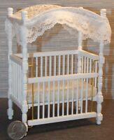 Dollhouse Miniature White Baby Bed Crib With Canopy 1:12 One Inch Scale F31