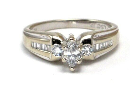 14k White gold Marquise Round and Baguette Diamond Engagement Ring .50ct