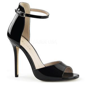 PLEASER-12-7cm-AMUSE-14-Tacon-De-Aguja-Tira-en-Tobillo-Zapatos-Sandalias-peep