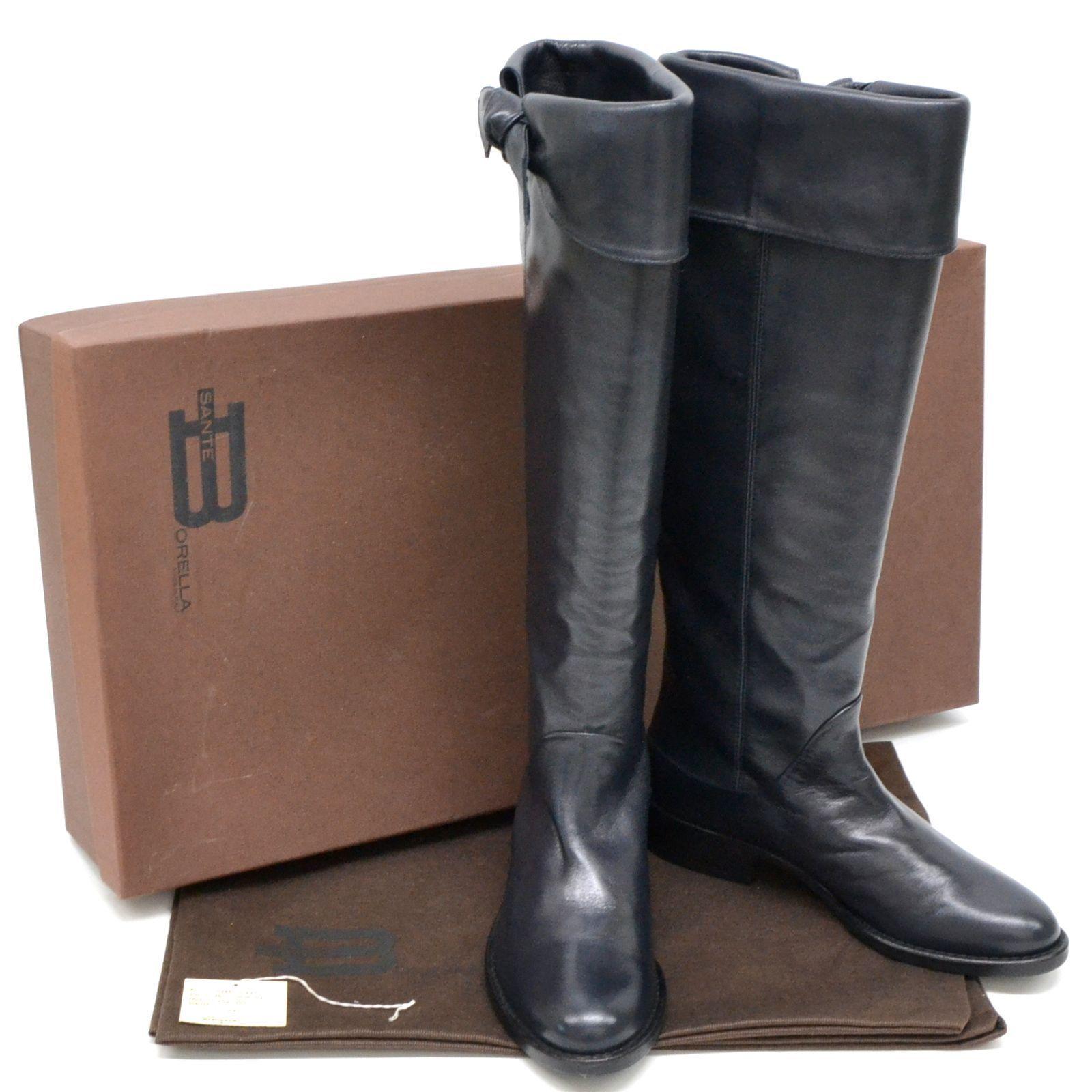 Auténtico Sante negro Borella Cuero Zapatos Botas Tacones larga negro Sante de la cinta de mujer 36 a4d59f