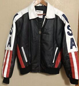 90s Vintage Metallic Leather Jacket with Rhinestones North Beach Michael Hoban Vintage Metallic Sea foam Leather Jacket Small Medium