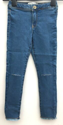 Girls Ex ZARA Skinny Slit Ripped Knee Skinny High Waisted Jeans Ages 6-14