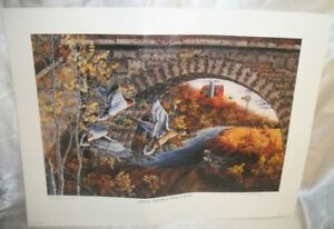 Lithograph-034-Stone-Bridge-Mallards-034-By-Donald-Blakney