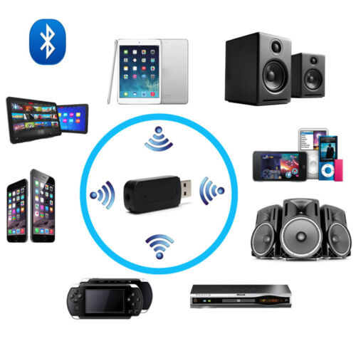 Wireless BT Stereo Audio Music Adapter USB Receiver For Car Home Speaker