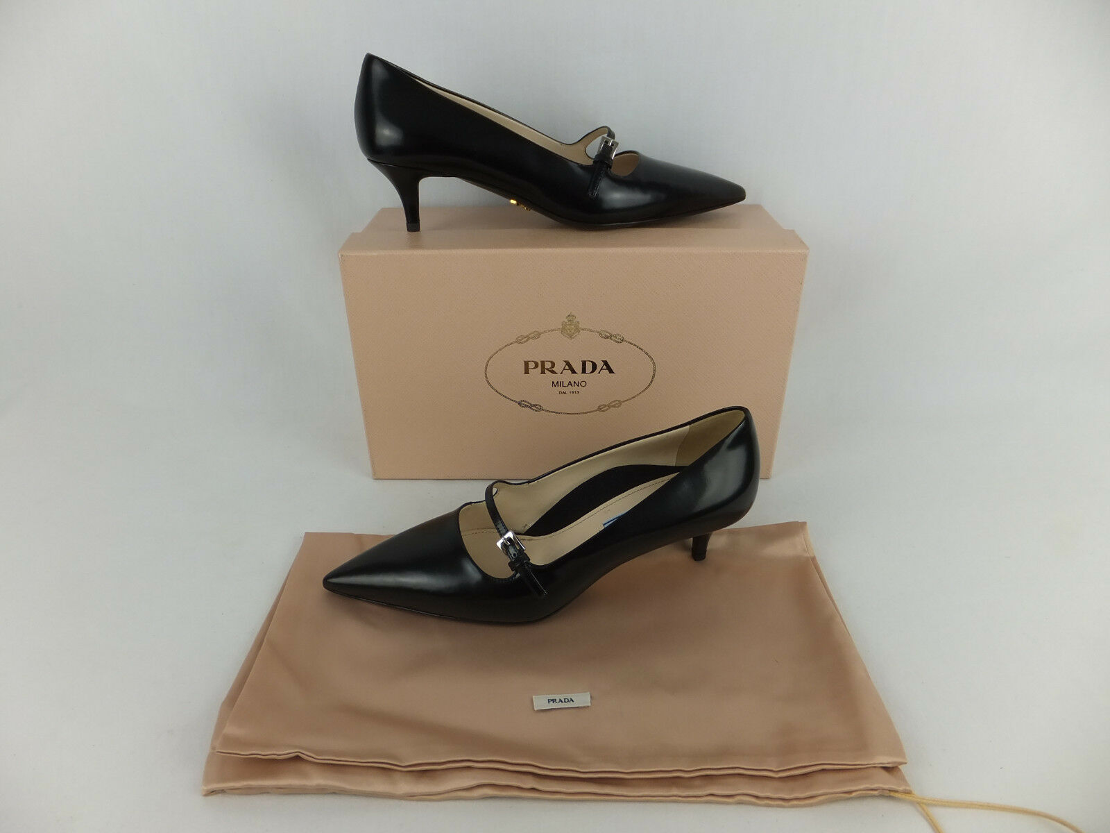 PRADA Mary Jane Pumps - 38 - black - neu mit Karton - Riemchen Pumps