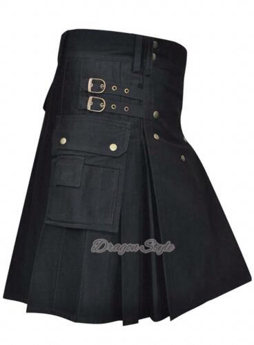 Brand New Men/'s Kilt Black 100/%Cotton Utility Kilt,// Different Colors Available