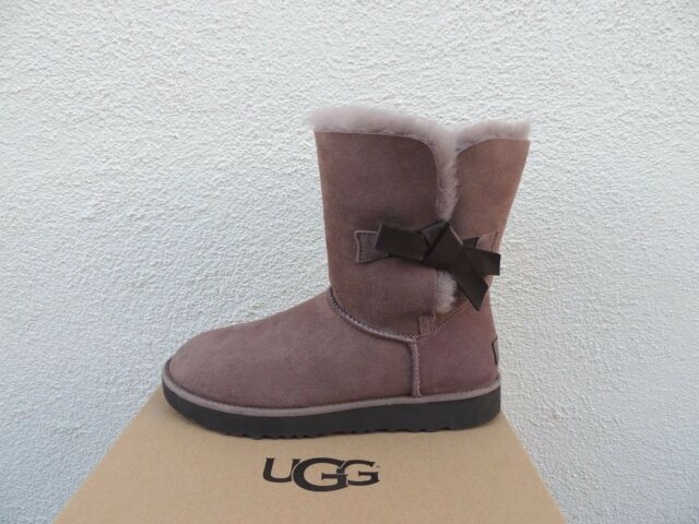 0f8496ddca1 UGG Women Classic Knot Short Winter Leather Sheep Skin BOOTS Color Dark  Grey 10