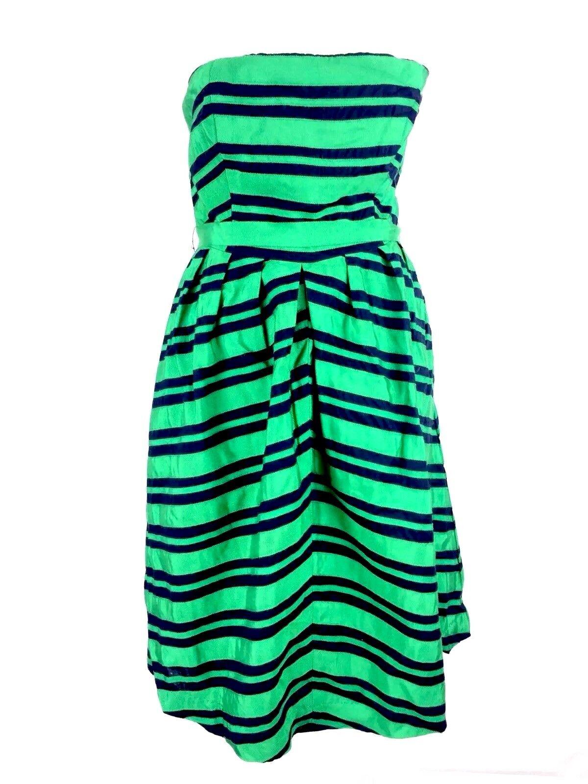 Moulinette Soeurs Womens Dress Sz 8 Fit To Flare Corset Green Striped Sleeveless