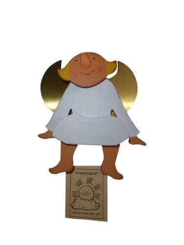 Finkbeiner 5504 Engel mit beweglichen Füßen und Metallflügel Holz bemahlt Neu