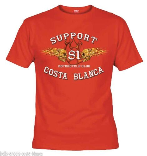 01 Hells Angels Flaming Sculls Black T-Shirt Support81 Big Red Machine 1/% 666