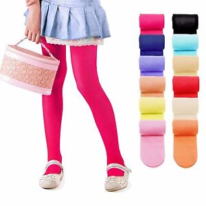 2371d97f5af6c Image is loading KIDS-FASHION-Girls-Plain-MICROFIBER-Semi-Opaque-TIGHTS-