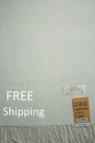 Free Ship NEW DG Pashmina Scarf Shawl Wraps Solid Off White 70/%cashmere 30/%silk