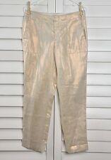 J.CREW NWT $118 100% Linen Dressy Garden Pants in Metallic Foil Size 4