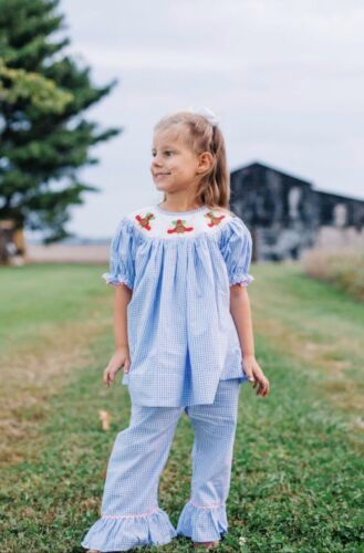 Girl's Blue Gingham Smocked Turkey Bishop Top /& Pant Set