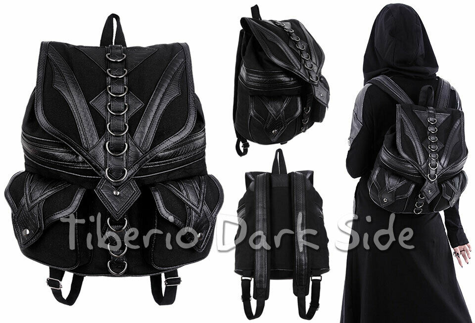 RESTYLE Dragon Scale Black Synthetic Leather Occult Nu Goth School Bag Backpack
