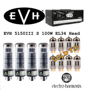 Premium GOLD Tip Tube Set Peavey 5150III S 100 Watt EL34 Head Electro Harmonix