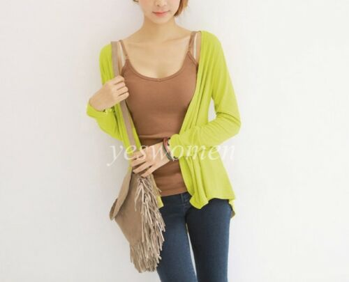 Womens Cardigan Long Sleeve Solid Open Front Sweater tops S-XL
