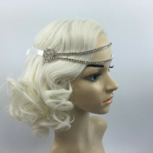 8a492a92af6c3 Image is loading Vintage-Women-Crystal-Headband-Head-Chains-1920s-Great-