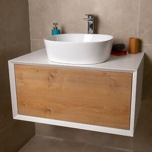 Dali Wall Mounted Bathroom Vanity Unit Gloss White Oak 800mm Ebay