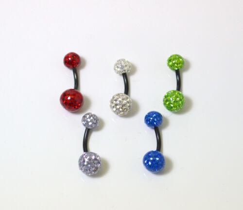 5 couleurs Dispo tige black ligne Piercing de nombril Crystal shamballa
