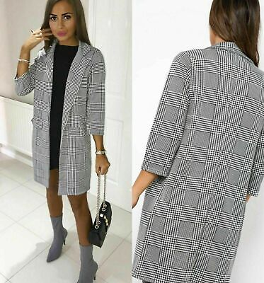 Womens Long Sleeve Check Hounds Tooth Tartan Duster Coat Jacket Blazer Plus Size