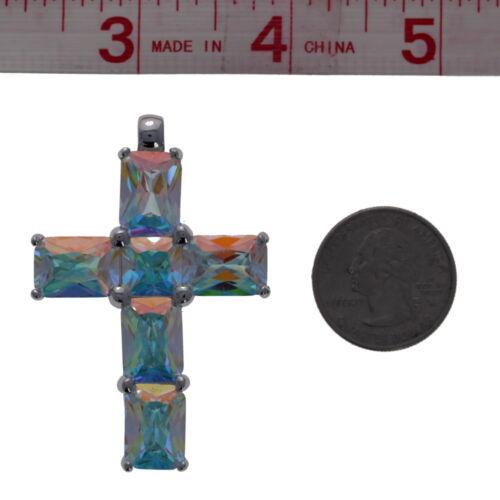 Pendan Clear AB Cubic Zirconia Cross Pendant Large Cross .925 Sterling Silver