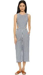 7d765fc2bc32 JOA Anthropologie Women s Sailor Stripe Cropped Jumpsuit Ivory Blue ...