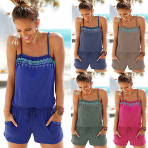 UK Summer Womens Holiday Strap Mini Playsuit Ladies Shorts ...