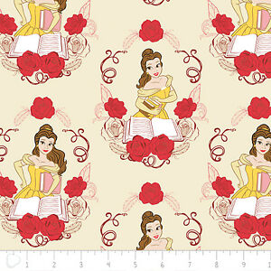 Disney-Beauty-amp-the-Beast-Belle-in-Cream-100-Cotton-Fabric-by-the-yard