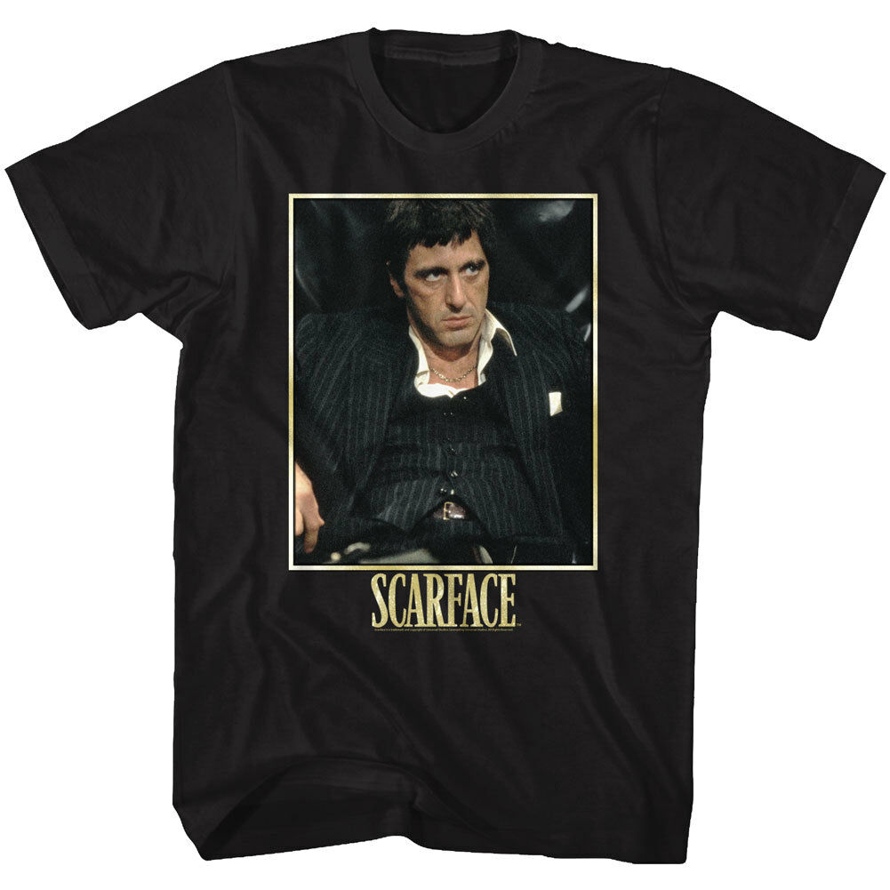 Scarface Relaxing In Leather Chair Licensed Adult T Shirt Classic Movie