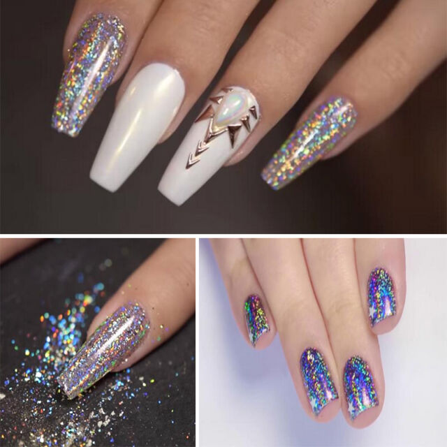 Diy Nail Art Chrome Powder Galaxy Bling Laser Flakes Effect Holo Rainbow Glitter