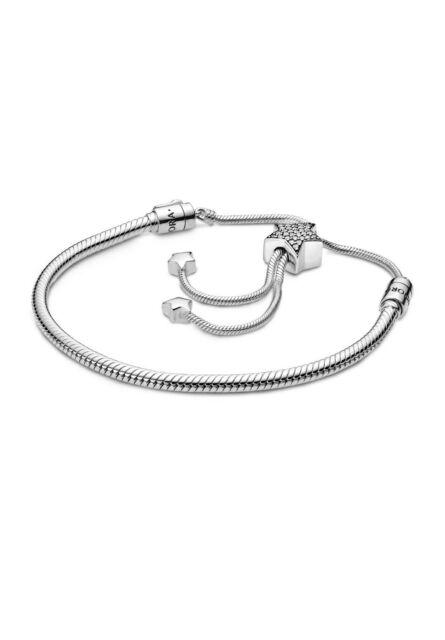 PANDORA Moments Pave Star and Snake Chain Sliding Bracelet 28 Cm