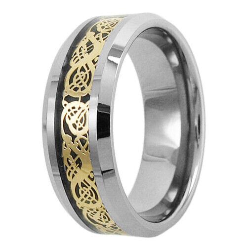 elija Color tiene peso total 8 mm Anillo de Tungsteno Dragón Celta Joyas para hombre anillo de bodas