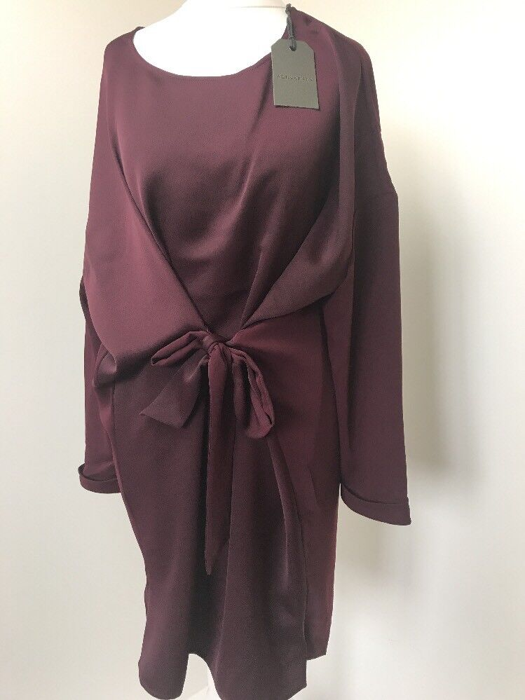 Bnwt Allsaints Sonny Sleeve dress  6(fits Uk 8) maroon rot