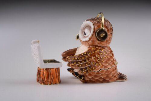 Owl with computer   trinket box hand made by Keren Kopal /& Austrian crystals