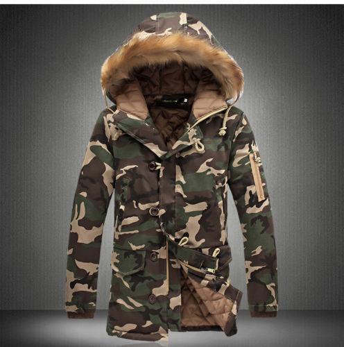 Winter Men/'s Thicken Cotton Jacket Hooded Overcoat Coat Faux Fur Collar Parkas